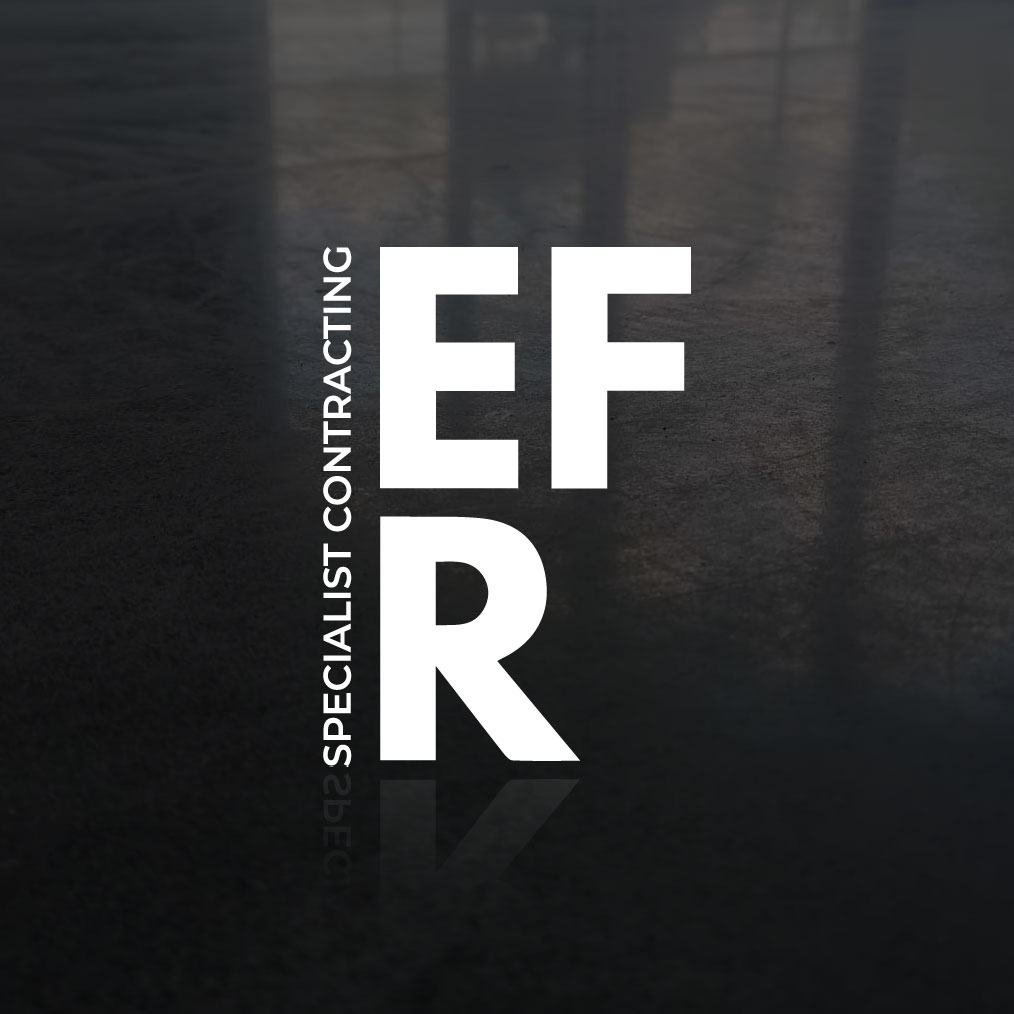 "Black and grey square ""EFR"" logo"
