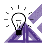 A purple icon depicting a light bulb