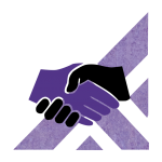 A purple and black icon depicting two hands shaking